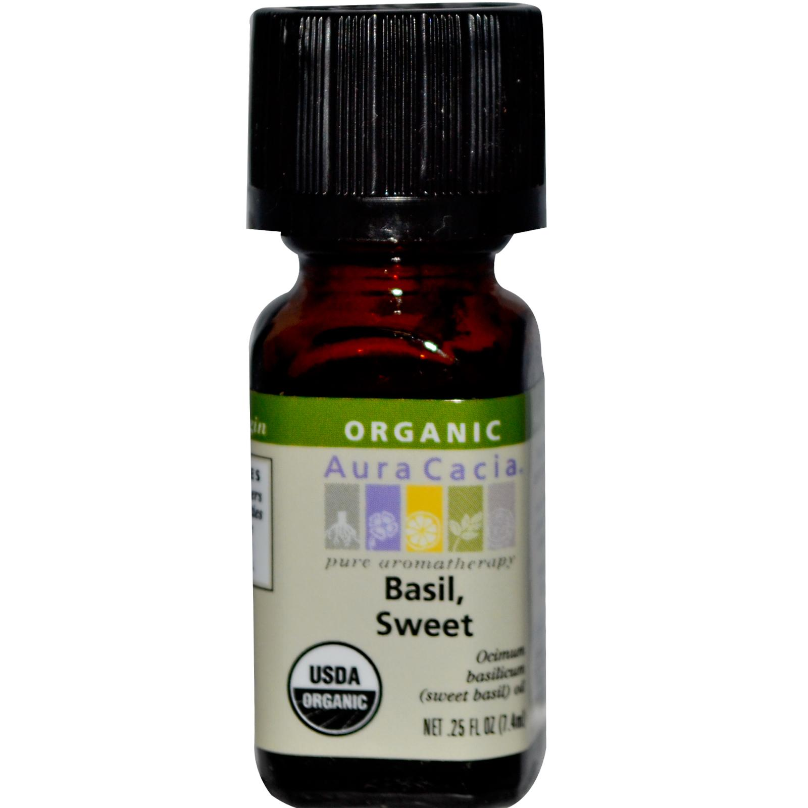 Organic Essential Oil - Aura Cacia - Sweet Basil - 0.25 fl. oz. aromatherapy, essential oil, organic, all natural, aura cacia, certified, doTerra,  therapeutic grade, pure, sweet basil,