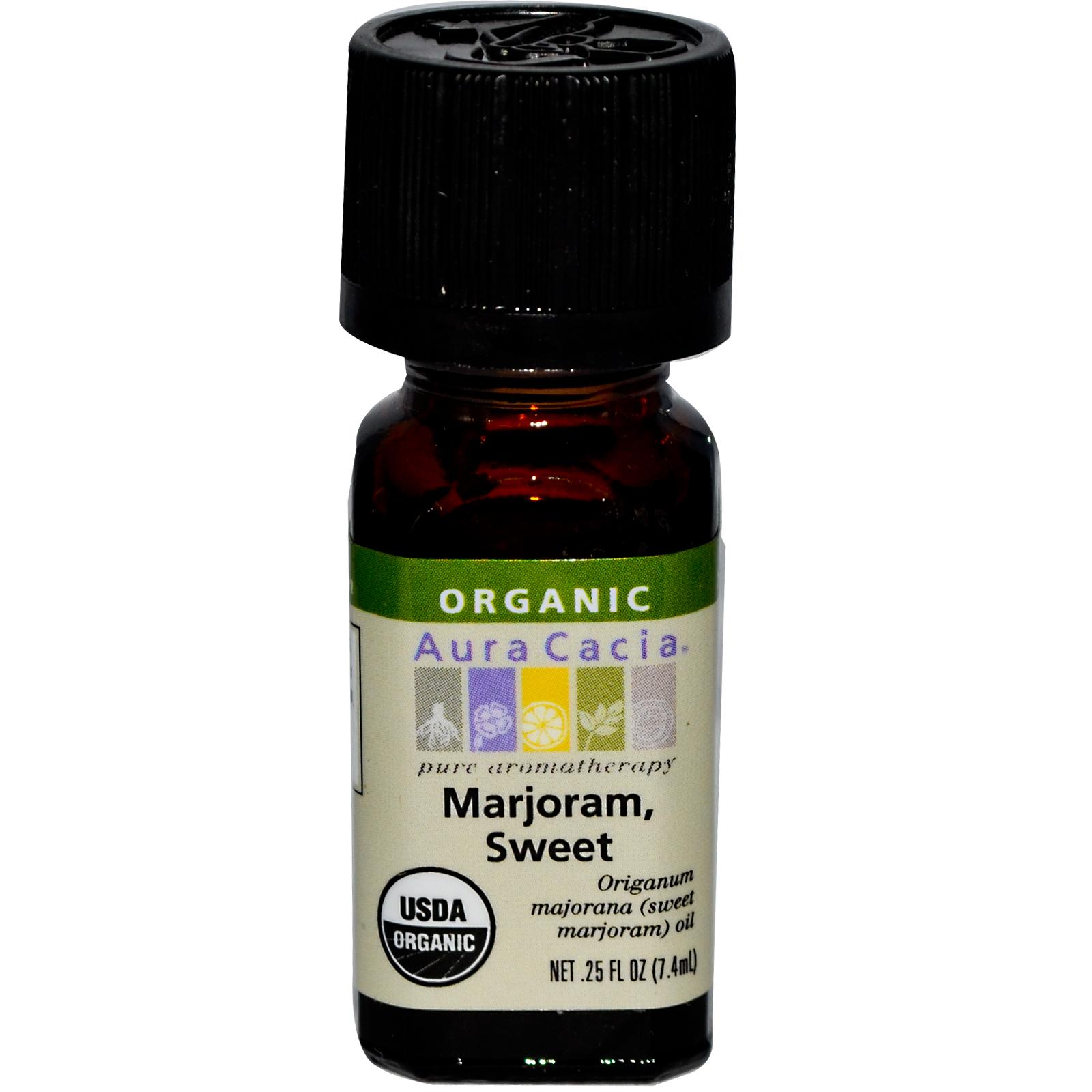 Organic Essential Oil - Aura Cacia - Sweet Marjoram - 0.25 fl. oz. aromatherapy, essential oil, organic, all natural, aura cacia, certified, doTerra,  therapeutic grade, pure, sweet marjoram,